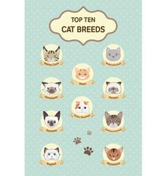 Pastel top ten cat breeds poster vector