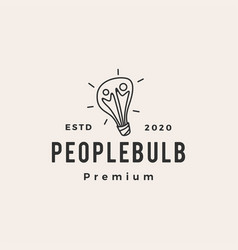 people bulb hipster vintage logo icon vector image
