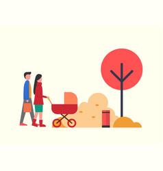 people in autumn park family walking around trees vector image