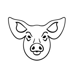 pig head on white background vector image