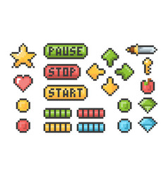 pixel buttons retro video games trophy pictogram vector image
