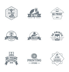 Print logo set simple style vector