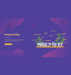 privacy policy concept with people team and big vector image