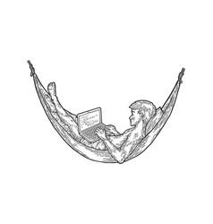 Programmer works in hammock sketch vector