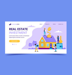 real estate investment landing page - concept vector image