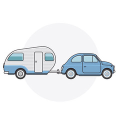 retro car with camper trailer - travel on vintage vector image