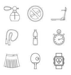 rinse icons set outline style vector image