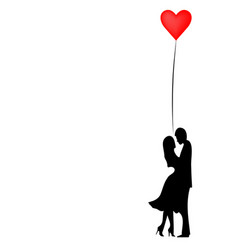romantic silhouette loving couple valentines vector image