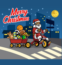 santa claus bring wagon full of christmas gift by vector image
