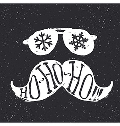 Santa vintage sunglasses and moustache with vector