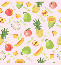 seamless background of fruits peach guava melon vector image