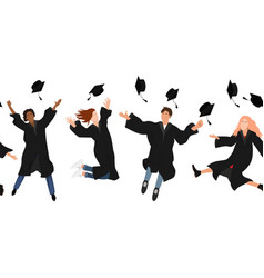 seamless border with happy graduate students vector image