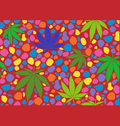 Seamless colorful pattern with cannabis leaves vector