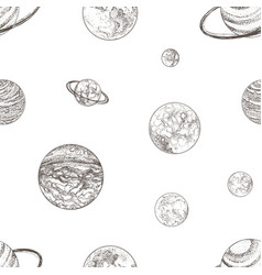 seamless pattern with planets of solar system and vector image
