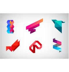 set abstract logo design templates 3d vector image