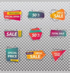 set isolated price tags or discount signs vector image