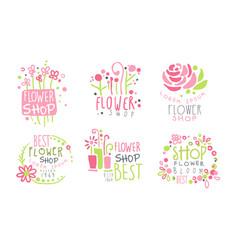 Set logos for a flower shop vector