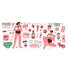 Set menstruation period female uterus vector