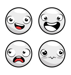 set of emoji emoticon cartoon vector image