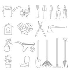 Set of various gardening items and garden vector