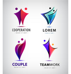 set two pair 2 people logos couple vector image
