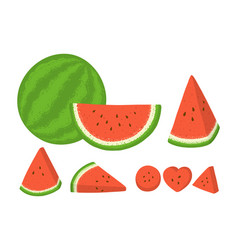 Set whole and sliced watermelon with seeds vector