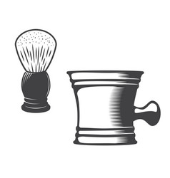 shaving mug and brush vector image vector image