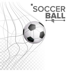 Soccer ball in net hitting goal sport vector
