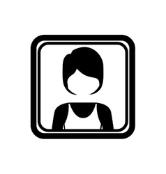 Square border with silhouette half body woman vector