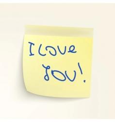 sticky note: I LoveYou vector image
