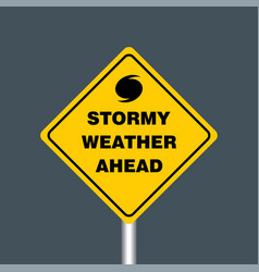 Stormy weather ahead signboard hurricane vector