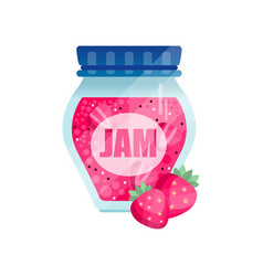 Strawberry jam glass jar of berry confiture vector