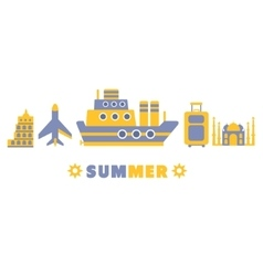 Summer Cruise In Europe Symbols Set By Five In vector image