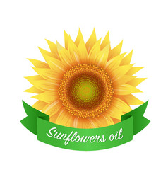 sunflower oil label with green ribbon isolated vector image