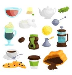 Tea and coffee icons set cartoon style vector image