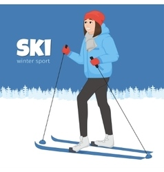 The young animation girl skis Winter sport vector