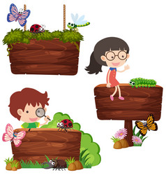 three wooden signs with kids and bugs vector image