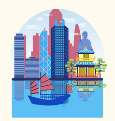 Travel skyline harbour with tourist junk vector