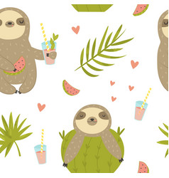 tropical seamless pattern with sloth and cactus vector image