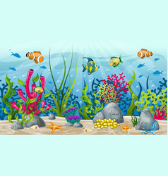 underwater landscape with plant and fish vector image
