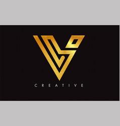 V golden letter modern trendy design logo letter vector