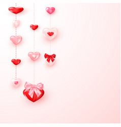 valentine card ornate shiny red and pink hearts vector image
