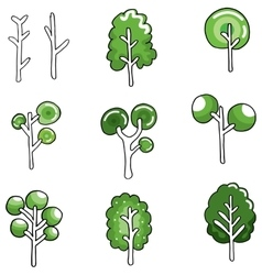 Various green tree in doodles vector