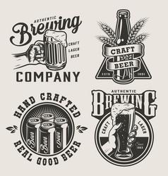 vintage monochrome brewery prints vector image