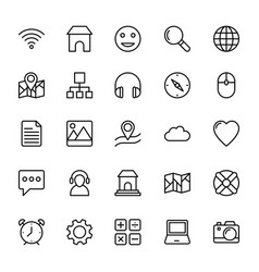Web and mobile ui line icons 5 vector