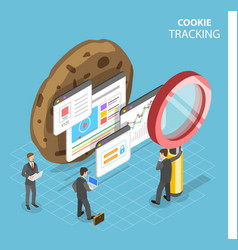 Web cookie tracking flat isometric concept vector