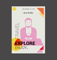 welcome to the great buddha kamakura japan vector image