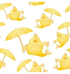 Yellow fish with umbrella vector image