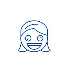 Zany face emoji line icon concept face emoji vector