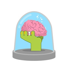 Zombie hand in glass bell Laboratory research vector